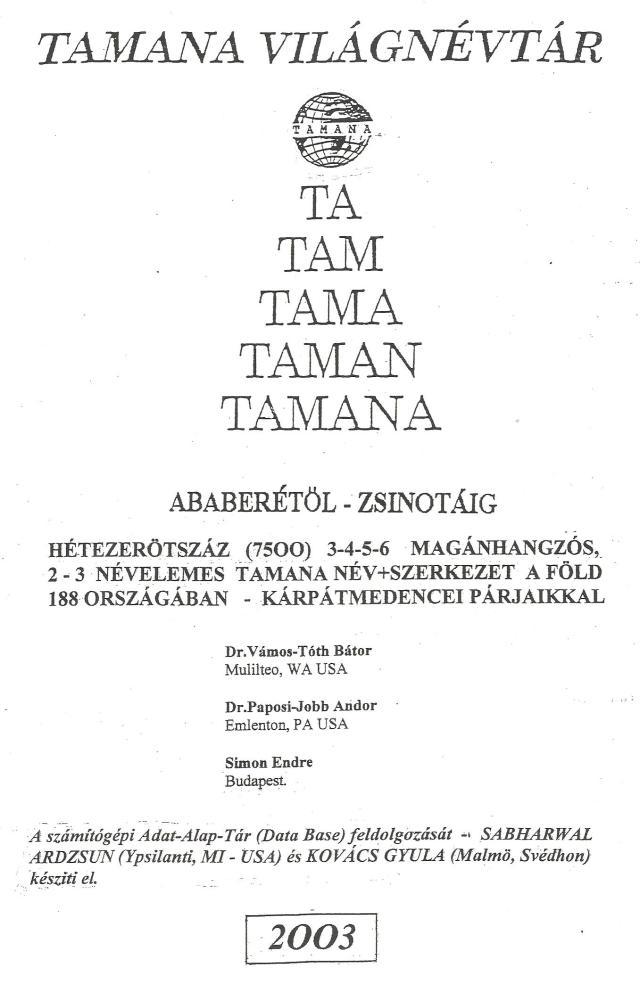 Tamana Világnévtár fedlapja