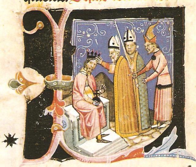 A Képes Krónika képe: Koronázás háttérben piramissal (Országos Széchenyi Könyvtár)