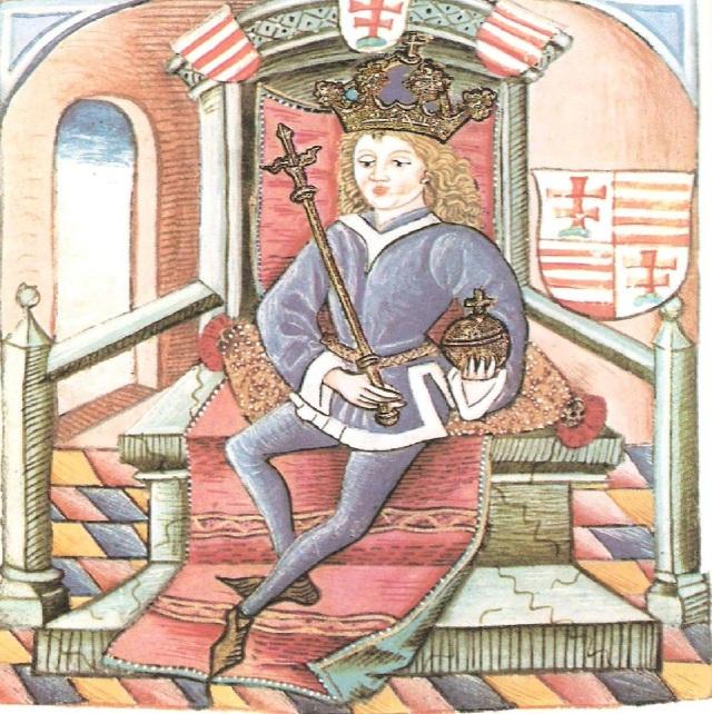 A Thúróczy Krónika képe: A fiatal Nagy Lajos Király (Országos Széchenyi Könyvtár)